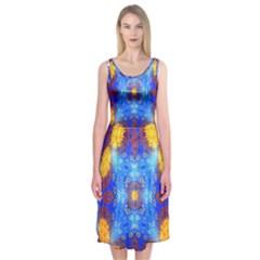 Easter Eggs Egg Blue Yellow Midi Sleeveless Dress