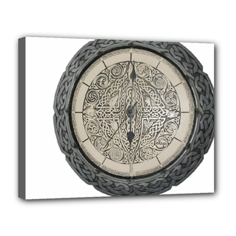 Clock Celtic Knot Time Celtic Knot Canvas 14  X 11  by Nexatart