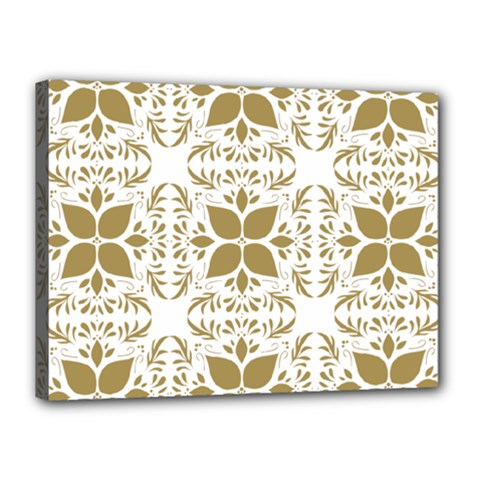 Pattern Gold Floral Texture Design Canvas 16  X 12  by Nexatart