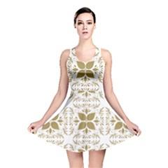 Pattern Gold Floral Texture Design Reversible Skater Dress
