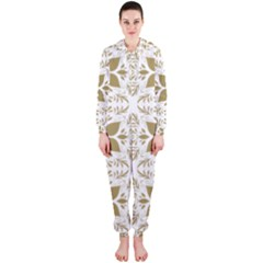 Pattern Gold Floral Texture Design Hooded Jumpsuit (ladies)
