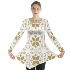 Pattern Gold Floral Texture Design Long Sleeve Tunic