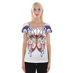 Butterfly Nature Abstract Beautiful Women s Cap Sleeve Top