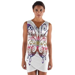 Butterfly Nature Abstract Beautiful Wrap Front Bodycon Dress