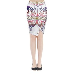 Butterfly Nature Abstract Beautiful Midi Wrap Pencil Skirt