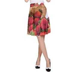 Strawberries Fruit Food Delicious A Line Skirt