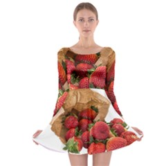 Strawberries Fruit Food Delicious Long Sleeve Skater Dress