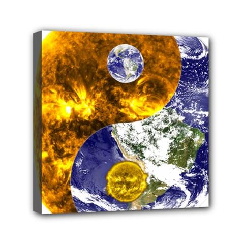 Design Yin Yang Balance Sun Earth Mini Canvas 6  X 6  by Nexatart