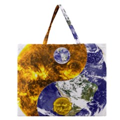 Design Yin Yang Balance Sun Earth Zipper Large Tote Bag by Nexatart