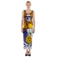 Design Yin Yang Balance Sun Earth Fitted Maxi Dress