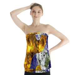 Design Yin Yang Balance Sun Earth Strapless Top
