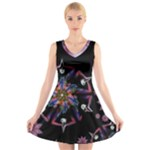 Fractal Frolic  - V-Neck Sleeveless Dress