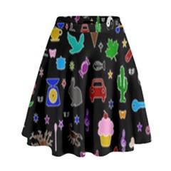Rebus High Waist Skirt by Valentinaart