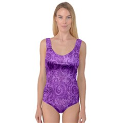 Purple Romantic Flower Pattern Denim Princess Tank Leotard  by Ivana