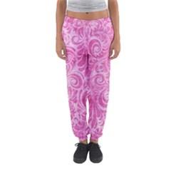 Pink Romantic Flower Pattern Denim Women s Jogger Sweatpants by Ivana
