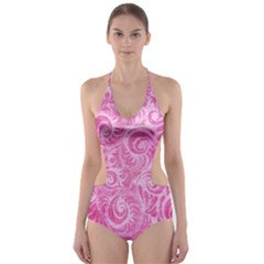 Pink Romantic Flower Pattern Denim Cut Out One Piece Swimsuit by Ivana