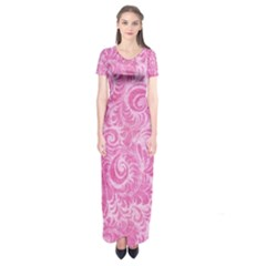 Pink Romantic Flower Pattern Denim Short Sleeve Maxi Dress by Ivana