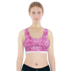 Pink Romantic Flower Pattern Denim Sports Bra With Pocket by Ivana
