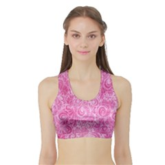 Pink Romantic Flower Pattern Denim Sports Bra With Border by Ivana