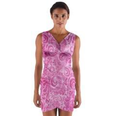Pink Romantic Flower Pattern Denim Wrap Front Bodycon Dress by Ivana