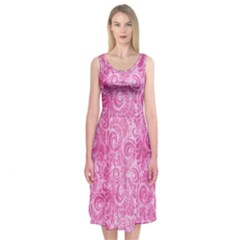 Pink Romantic Flower Pattern Denim Midi Sleeveless Dress by Ivana