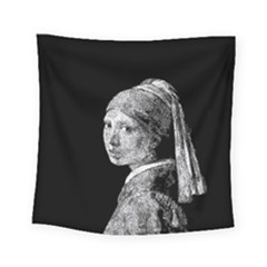 The Girl With The Pearl Earring Square Tapestry (small) by Valentinaart