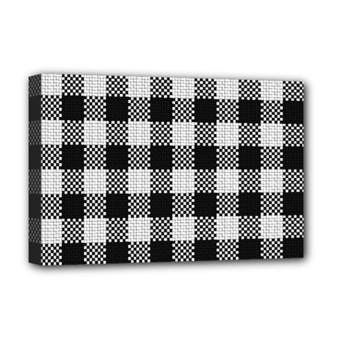 Plaid Pattern Deluxe Canvas 18  X 12   by ValentinaDesign