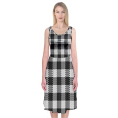 Plaid Pattern Midi Sleeveless Dress by ValentinaDesign