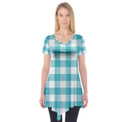 Plaid Pattern Short Sleeve Tunic  by ValentinaDesign