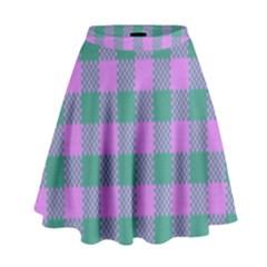 Plaid Pattern High Waist Skirt by ValentinaDesign