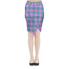 Plaid Pattern Midi Wrap Pencil Skirt by ValentinaDesign