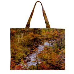 Colored Forest Landscape Scene, Patagonia   Argentina Medium Zipper Tote Bag by dflcprints