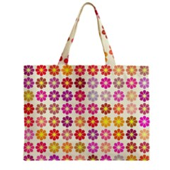 Multicolored Floral Pattern Zipper Mini Tote Bag by linceazul