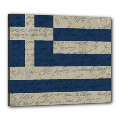 Vintage Flag   Greece Canvas 24  X 20  by ValentinaDesign