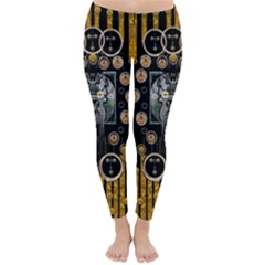 Foxy Panda Lady With Bat And Hat In The Forest Classic Winter Leggings by pepitasart
