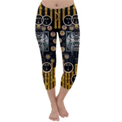 Foxy Panda Lady With Bat And Hat In The Forest Capri Winter Leggings  by pepitasart