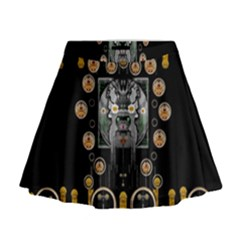 Foxy Panda Lady With Bat And Hat In The Forest Mini Flare Skirt by pepitasart