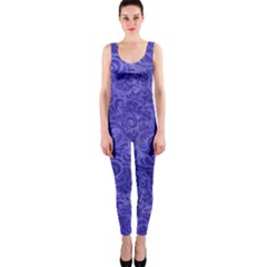 Vibrant Blue Romantic Flower Pattern Onepiece Catsuit by Ivana