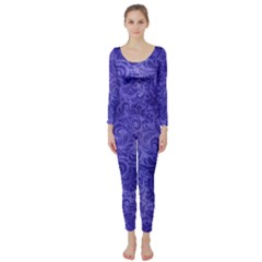 Vibrant Blue Romantic Flower Pattern Long Sleeve Catsuit by Ivana