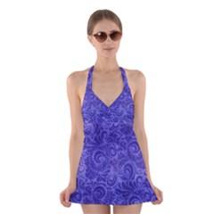 Vibrant Blue Romantic Flower Pattern Halter Swimsuit Dress by Ivana