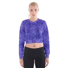 Vibrant Blue Romantic Flower Pattern Cropped Sweatshirt by Ivana