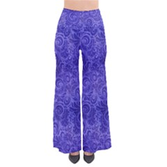 Vibrant Blue Romantic Flower Pattern Pants by Ivana