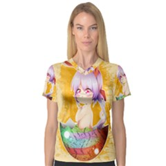 Easter Bunny Furry Women s V Neck Sport Mesh Tee by Catifornia