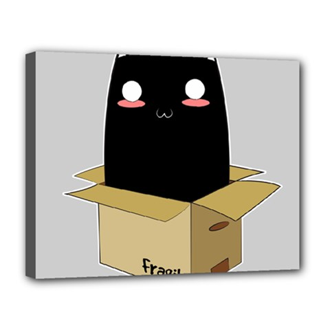 Black Cat In A Box Canvas 14  X 11  by Catifornia