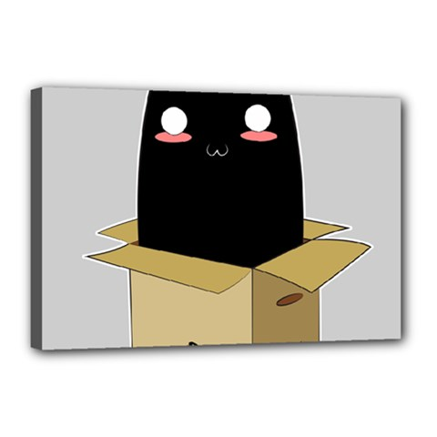 Black Cat In A Box Canvas 18  X 12  by Catifornia