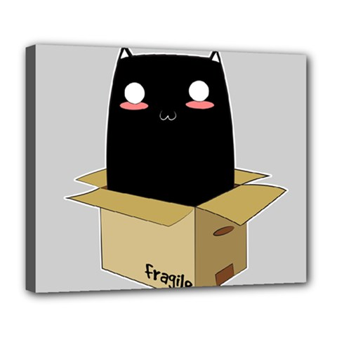 Black Cat In A Box Deluxe Canvas 24  X 20   by Catifornia