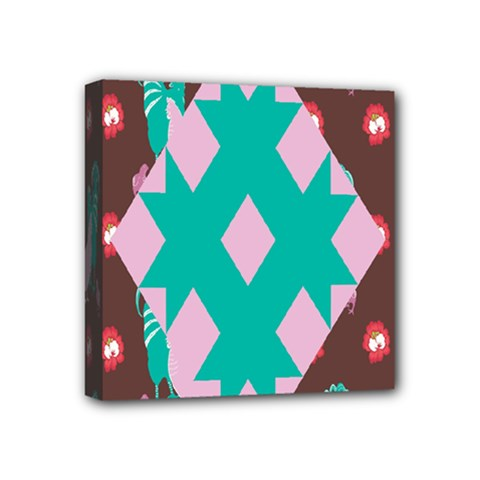 Animals Rooster Hens Chicks Chickens Plaid Star Flower Floral Sunflower Mini Canvas 4  X 4
