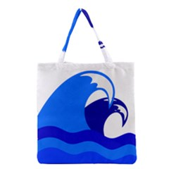Blue Beach Sea Wave Waves Chevron Water Grocery Tote Bag by Mariart