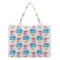 Animals Elephants Giraffes Bird Cranes Swan Medium Tote Bag by Mariart
