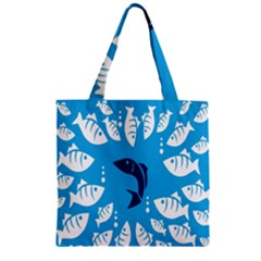 Blue Fish Tuna Sea Beach Swim White Predator Water Zipper Grocery Tote Bag by Mariart